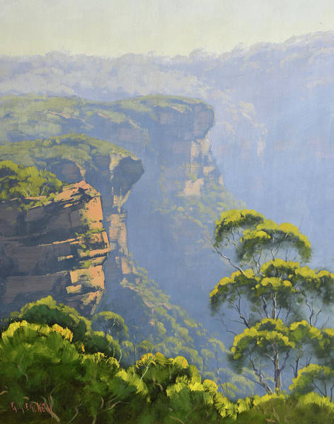 Wall Art - Painting - Katoomba Cliffs by Graham Gercken