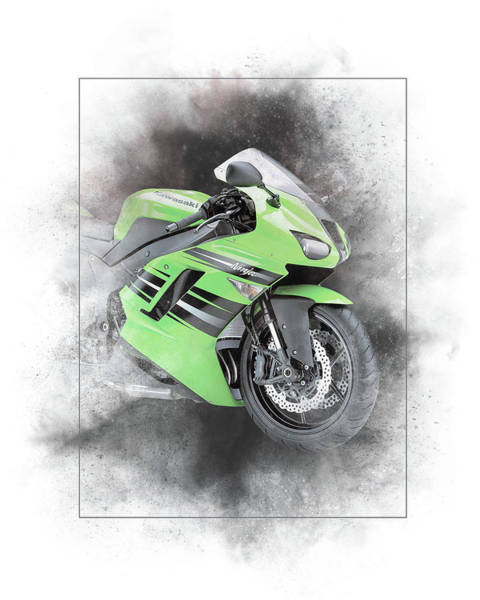 Japan Mixed Media - Kawasaki Ninja Zx-14 Painting by Smart Aviation