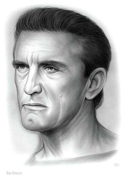 Authors Wall Art - Drawing - Kirk Douglas by Greg Joens