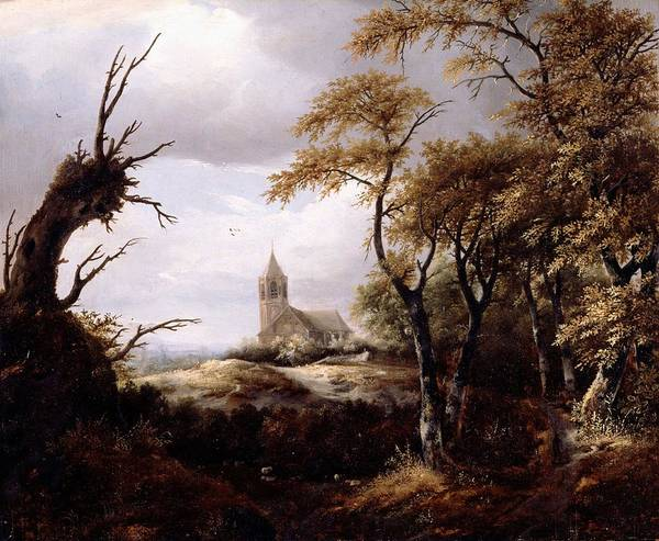 Wall Art - Painting - Landscape With A Church by Jacob van Ruisdael