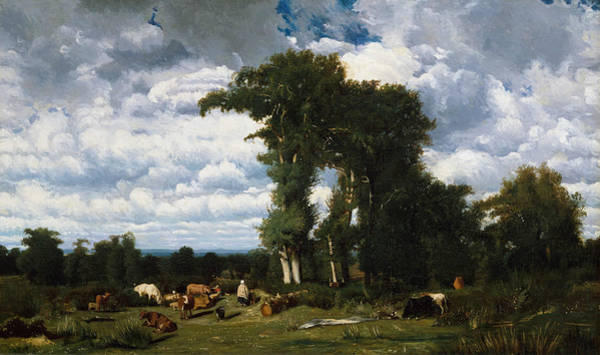 Wall Art - Painting - Landscape With Cattle At Limousin by Jules Dupre