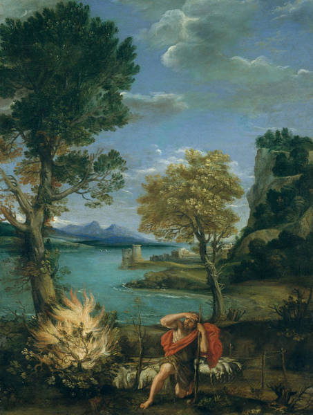 Painting - Landscape With Moses And The Burning Bush by Domenichino