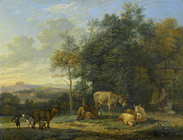 Wall Art - Painting - Landscape With Two Donkeys, Goats And Pigs by Karel Dujardin