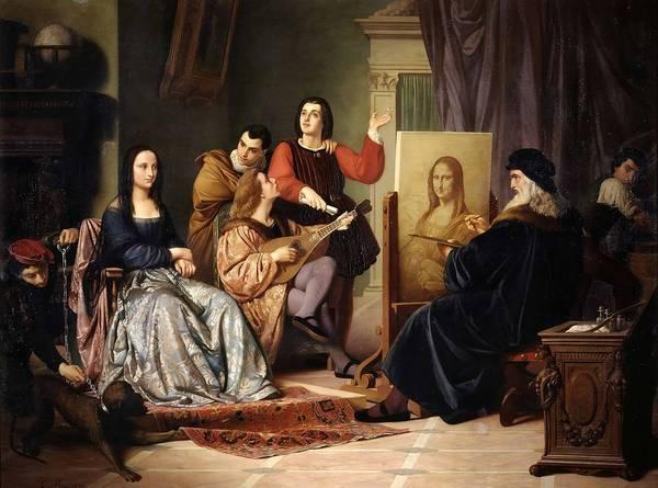 Wall Art - Painting - Leonardo Da Vinci Painting The Mona Lisa  by Cesare Maccari