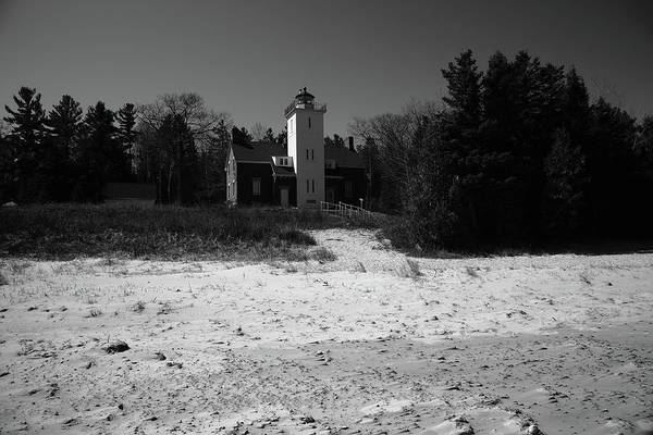 Photograph - Lighthouse - 40 Mile Point Michigan Bw by Frank Romeo