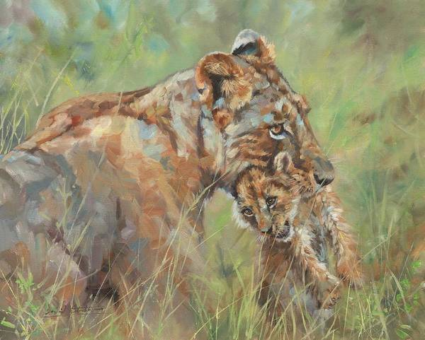 Wall Art - Painting - Lioness And Cub by David Stribbling