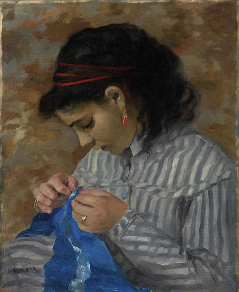 Wall Art - Painting - Lise Sewing by Pierre-Auguste Renoir
