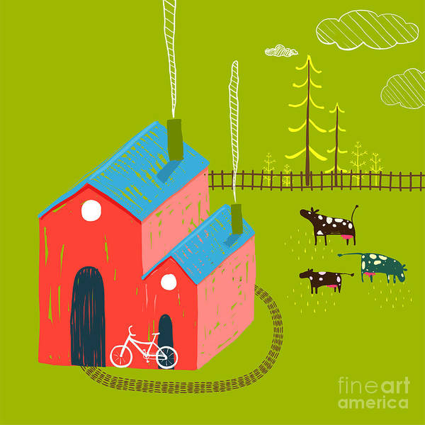 Wall Art - Digital Art - Little Village House Rural Landscape by Popmarleo
