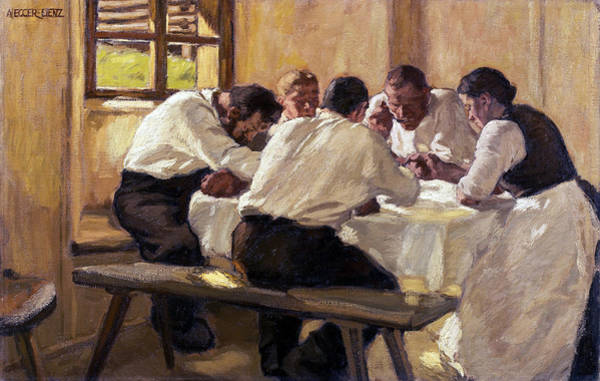 Wall Art - Painting - Lunch The Soup, Version II by Albin Egger-Lienz