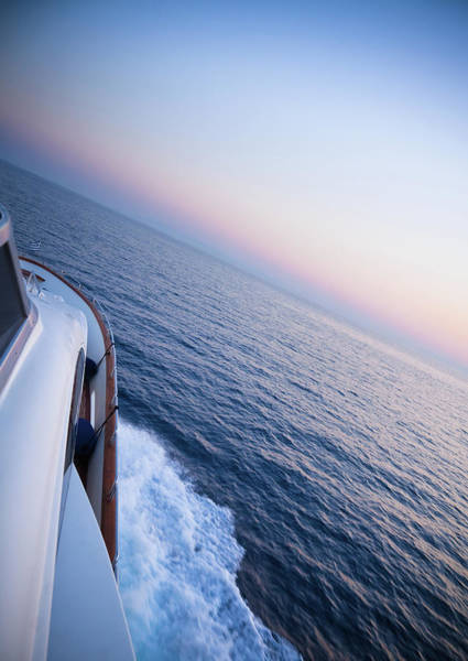 Boat Deck Photograph - Luxury Motor Yacht Sailing At Sunset by Petreplesea