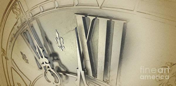 Wall Art - Digital Art - Macro Antique Clock Midnight by Allan Swart