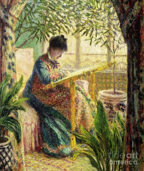Embroidery Painting - Madame Monet Embroidering by Claude Monet