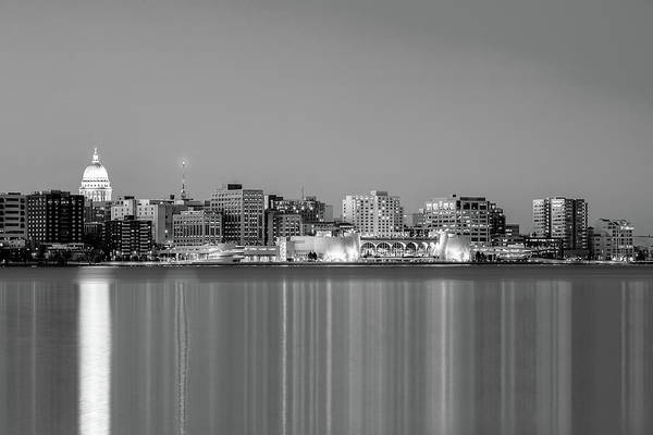 Photograph - Madison Skyline In Black And White by Todd Klassy