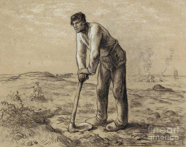 Wall Art - Pastel - Man With A Hoe by Jean-Francois Millet