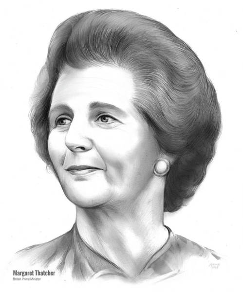 20th Century Wall Art - Drawing - Margaret Thatcher by Greg Joens