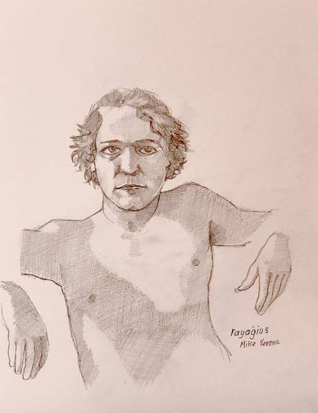Male Model Drawing - Mike by Ray Agius