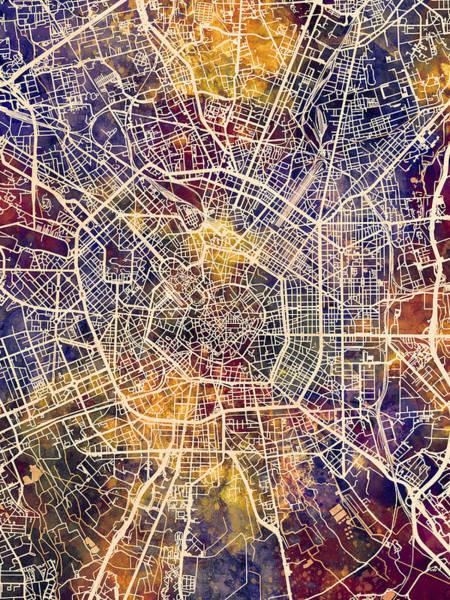 Wall Art - Digital Art - Milan Italy City Map by Michael Tompsett