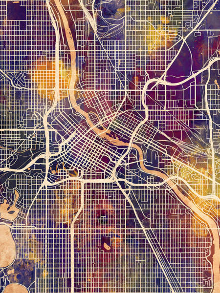 Wall Art - Digital Art - Minneapolis Minnesota City Map by Michael Tompsett