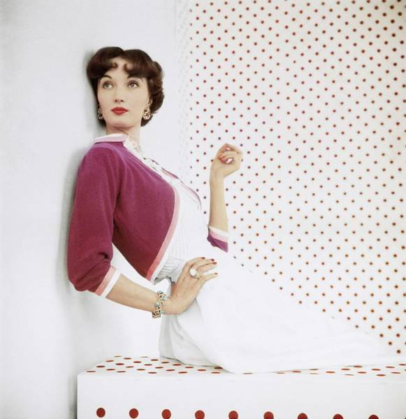 Gate Photograph - Model In Evelyn Gates Cashmere by Horst P. Horst