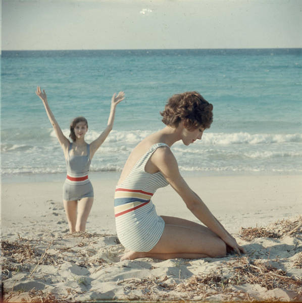 Fashion Model Photograph - Models On The Beach by Gordon Parks