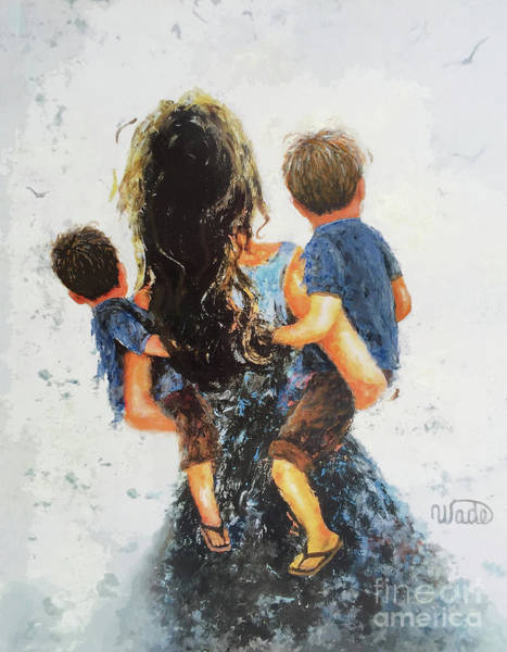 Me Too Painting - Mommy, Carry Me Too Two Sons by Vickie Wade