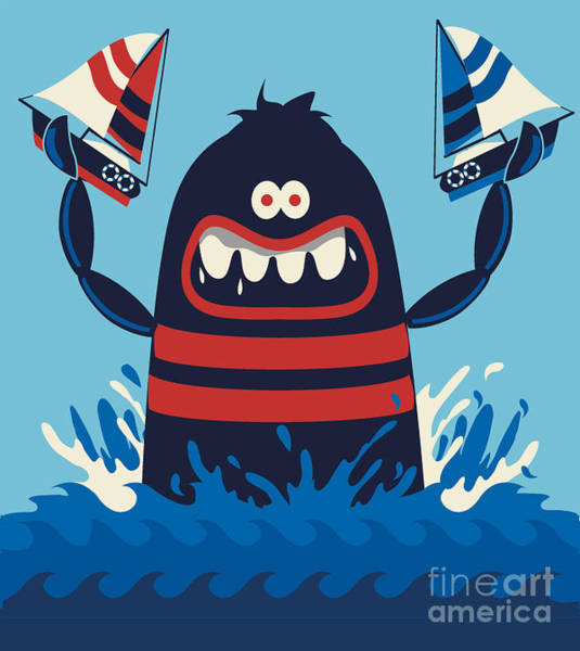 Wall Art - Digital Art - Monster Vector Design by Braingraph