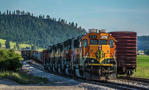 Photograph - Montana Landscapes With Heavy Train Engine Locomotive Passing by Alex Grichenko