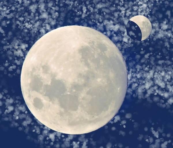 Mixed Media - 2 Moons Rising by Joan Stratton