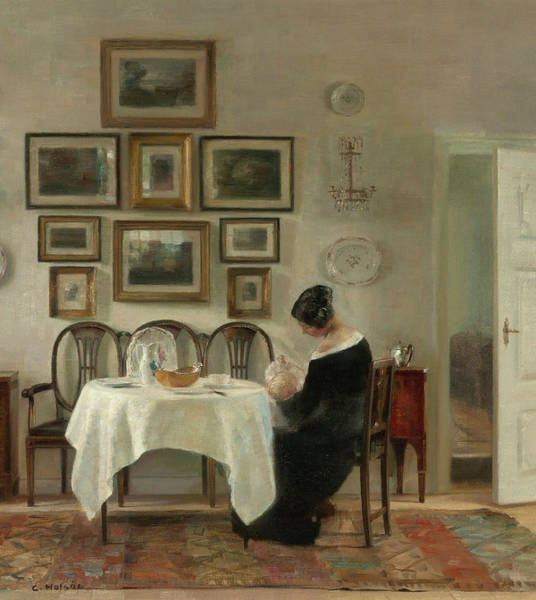 Wall Art - Painting - Mother And Child At The Table by Carl Holsoe
