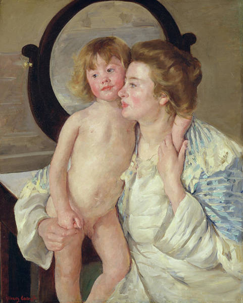 Wall Art - Painting - Mother And Child - The Oval Mirror by Mary Cassatt