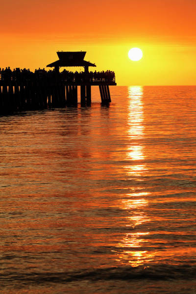 Wall Art - Photograph - Naples Pier At Sunset And Gulf by Adam Jones