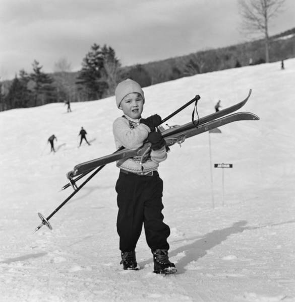 New Hampshire Photograph - New England Skiing by Slim Aarons