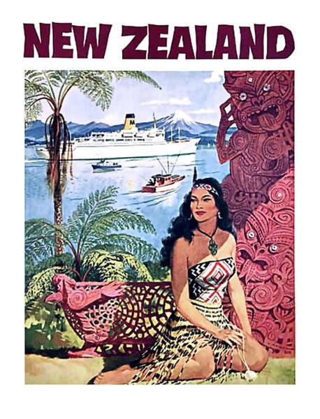 Coastline Digital Art - New Zealand by Long Shot