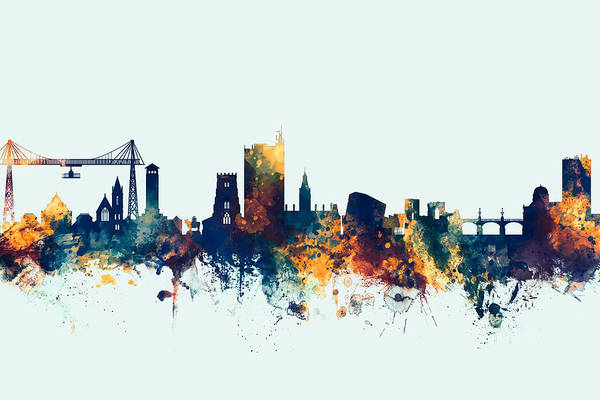Newport Wall Art - Digital Art - Newport Wales Skyline by Michael Tompsett