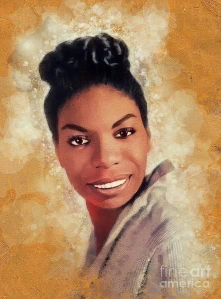 Nina Simone Wall Art - Painting - Nina Simone, Music Legend by John Springfield