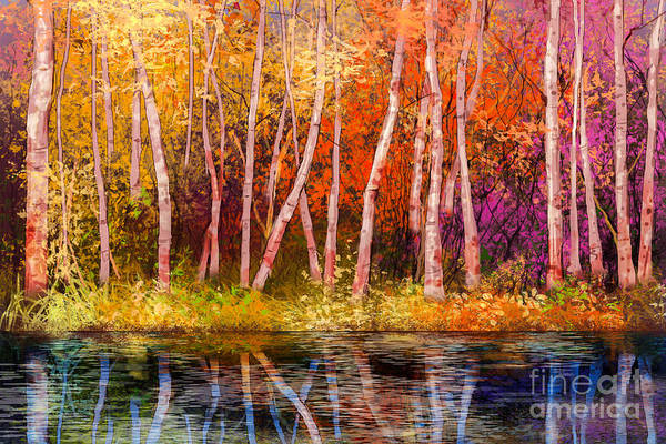 Hand Painted Wall Art - Digital Art - Oil Painting Landscape - Colorful by Pluie r