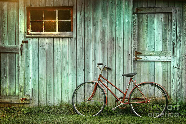 Wall Art - Photograph - Old Bicycle Leaning Against Grungy Barn by Sandra Cunningham
