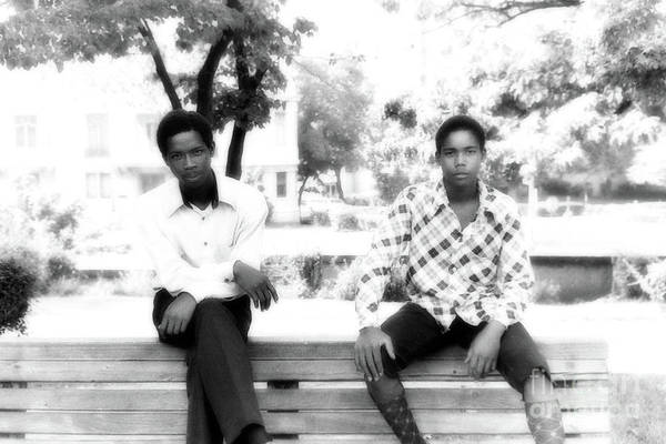Photograph - 2 Bros. On A Bench In Malcolm X Park by Walter Neal