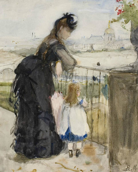 Wall Art - Drawing - On The Balcony by Berthe Morisot