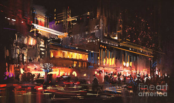Urban Scene Wall Art - Digital Art - Painting Of Shopping Street City With by Tithi Luadthong