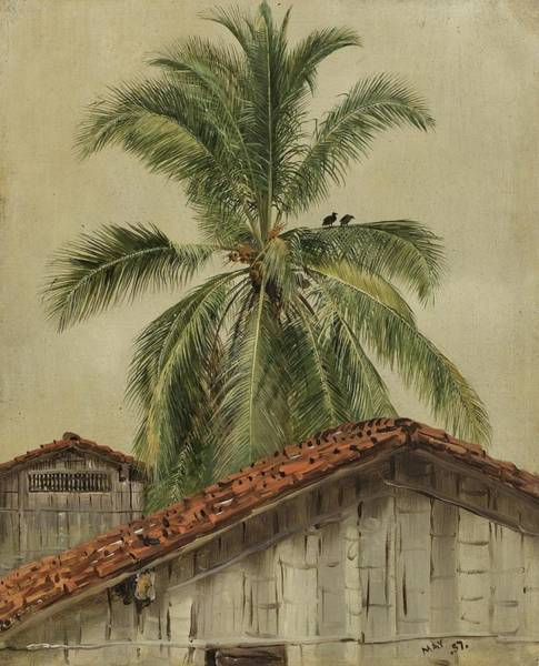 Wall Art - Painting - Palm Trees And Housetops, Ecuador - Digital Remastered Edition by Frederic Edwin Church