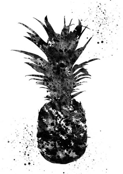 Pineapples Digital Art - Pineapple-black by Erzebet S