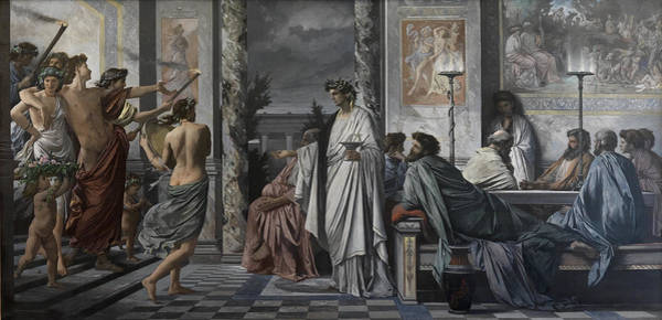 Greek House Painting - Plato's Symposium by Anselm Feuerbach