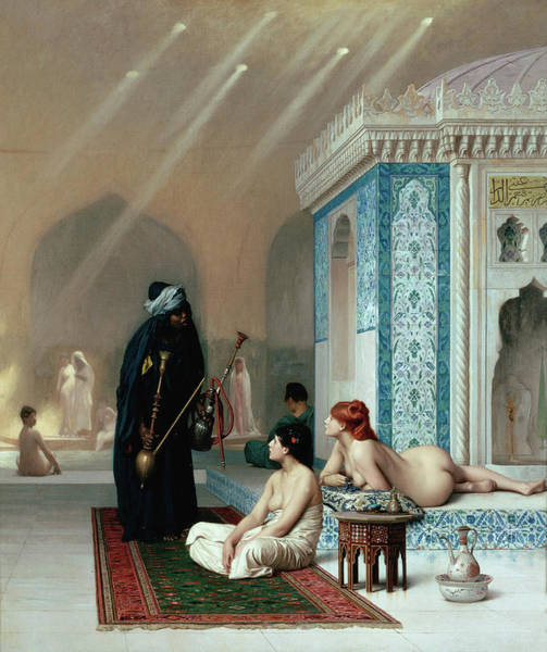 Sauna Wall Art - Painting - Pool In A Harem by Jean-Leon Gerome