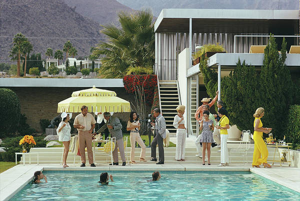 Wall Art - Photograph - Poolside Party by Slim Aarons