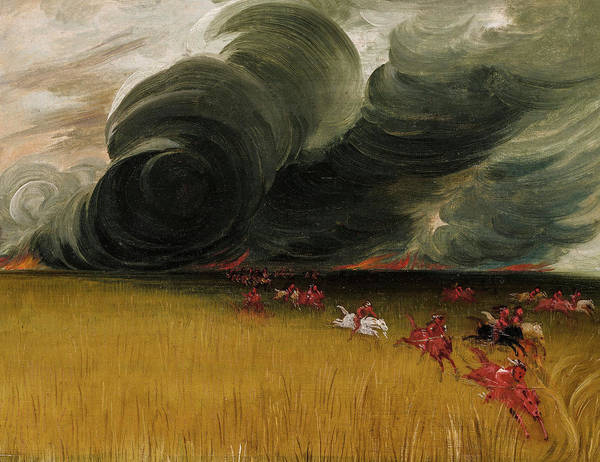 Wall Art - Painting - Prairie Meadows Burning, 1832 by George Catlin