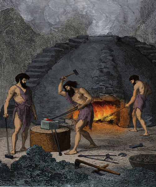 Wall Art - Photograph - Prehistoric Man, Iron Age Blacksmiths by Science Source