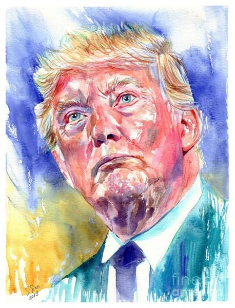 Florida Beach Painting - President Donald Trump Portrait by Suzann Sines