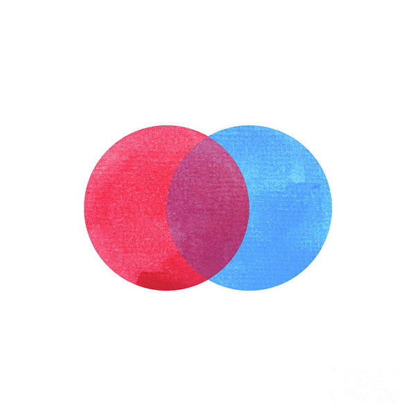 Secondary Colors Mixed Media - 2 Primary Colors, Blue Red Watercolor Painting Circle Round On W by Benjavisa Ruangvaree