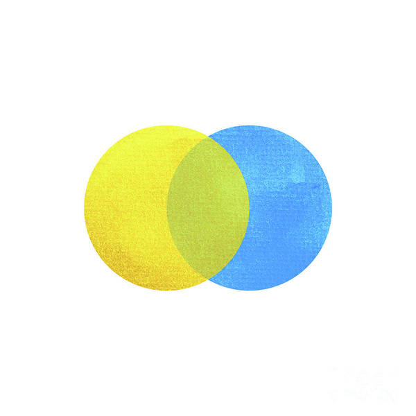 2 Primary Colors, Blue Yellow Watercolor Painting Circle Round O Art Print